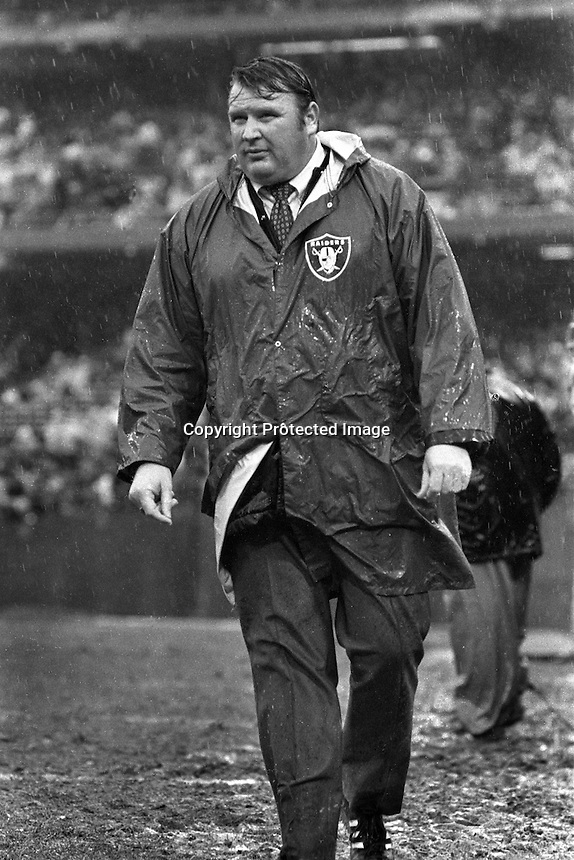 Oakland Raider coach John Madden in the rain..(1974 photo by Ron Riesterer)
