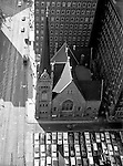 Pittsburgh PA: View of the First English Evangelical Church in downtown Pittsburgh - 1958.  Founded in 1837, the church was the first English-speaking Lutheran Church west of the Allegheny Mountains. This building on Grant Street was dedicated in 1888.  The Alcoa building is in the background.