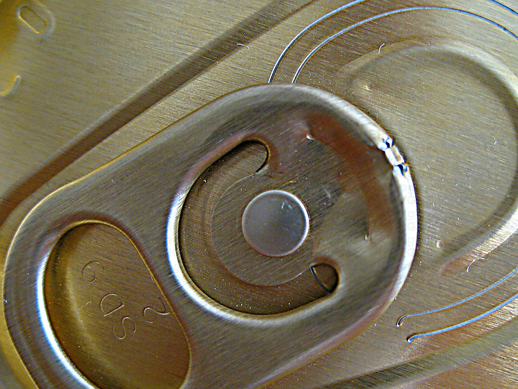 A macro shot of tin can ring pull