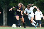 15 August 2014: Missouri's Lauren Selaiden (left) and North Carolina's Sarah Ashley Firstenberg (54). The University of North Carolina Tar Heels hosted the University of Missouri Tigers at Fetzer Field in Chapel Hill, NC in a 2014 NCAA Division I Women's Soccer preseason match. Missouri won the exhibition 2-1.