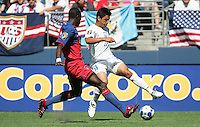 Roger Espinoza tries to maintain control of the ball. Honduras defeated Haiti 1-0 during the First Round of the 2009 CONCACAF Gold Cup at Qwest Field in Seattle, Washington on July 4, 2009.