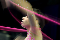 September 6, 2009; Mie, Japan;  Filipa Siderova of Bulgaria trains with ribbon at 2009 World Championships Mie. (Note: Slow shutter speeds for intentional blurs.) Photo by Tom Theobald .
