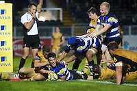 Adam Hastings of Bath United scores a second half try. Aviva A-League match, between Bath United and Bristol United on September 19, 2016 at the Recreation Ground in Bath, England. Photo by: Patrick Khachfe / Onside Images