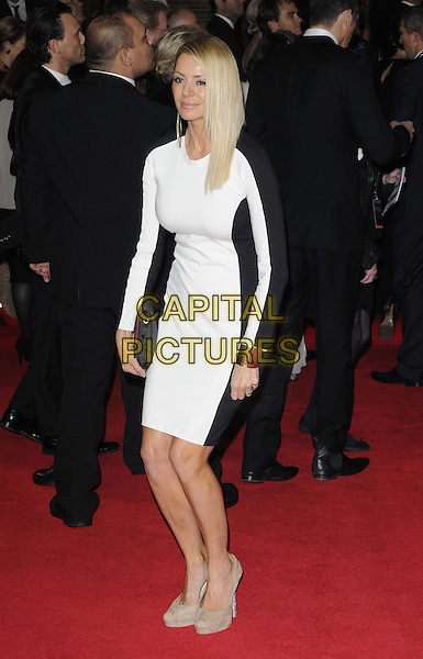Tess Daly.'Skyfall' Royal World Film Premiere, Royal Albert Hall, Kensington Gore, London, England..23rd October 2012.full length black white dress clutch bag beige shoes funny  .CAP/CAN.©Can Nguyen/Capital Pictures.