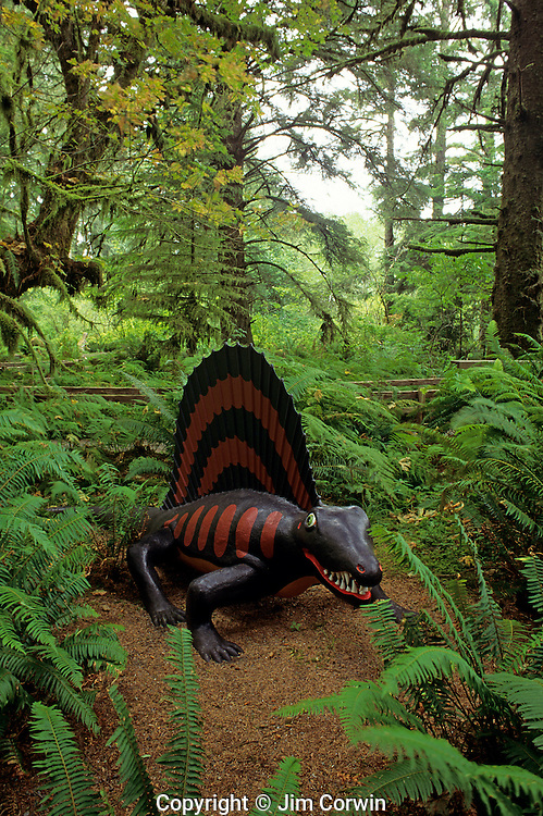 Prehistoric Gardens along the Oregon coast Dimetrodon lizard like creature with fin along back along tour trail Port Orford Oregon State USA