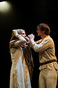 "© licensed to London News Pictures. London, UK. 09/12/2011. Tacit Theatre present ""The Canterbury Tales"" by Geoffrey Chaucer, at Southwark Playhouse. Picture shows: Ellie More and Harry Napier in The Wife of Bath's Tale. Photo credit: Jane Hobson/London News Pictures"