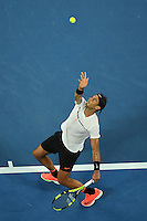 January 29, 2017: Rafael Nadal of Spain in action in the Men's Final against Roger Federer of Switzerland on day 14 of the 2017 Australian Open Grand Slam tennis tournament in Melbourne, Australia. Photo Sydney Low