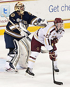 Steven Summerhays (ND - 1), Patrick Brown (BC - 23) - The visiting University of Notre Dame Fighting Irish defeated the Boston College Eagles 7-2 on Friday, March 14, 2014, in the first game of their Hockey East quarterfinals matchup at Kelley Rink in Conte Forum in Chestnut Hill, Massachusetts.