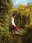 A lonely woman in a white dress, holding a red scarf, standing on a path in the garden.