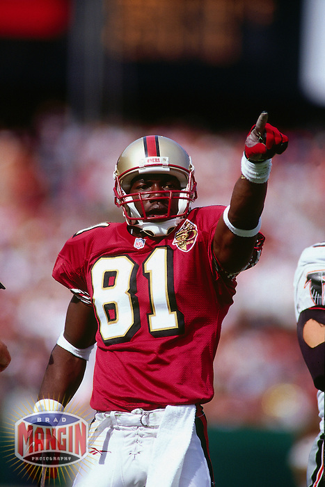 SAN FRANCISCO, CA - Terrell Owens of the San Francisco 49ers in action during a game against the Atlanta Falcons at Candlestick Park in San Francisco, California on September 28, 1996. Photo by Brad Mangin
