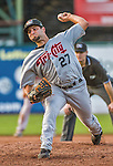 1 September 2014: Tri-City ValleyCats pitcher Bryan Radziewski on the mound against the Vermont Lake Monsters at Centennial Field in Burlington, Vermont. The ValleyCats defeated the Lake Monsters 3-2 in NY Penn League action. Mandatory Credit: Ed Wolfstein Photo *** RAW Image File Available ****