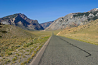 Road leading to Clark's Fork Canyon in northwest Wyoming