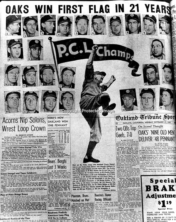 Front page of the Oakland Tribune Sports section 1948 the Oakland Oaks baseball team wins the Pacific Coast League Pennant, manager Casey Stengel kicks up his leg. (copy by Ron Riesterer)