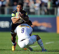 Kyle Eastmond of Bath Rugby is tackled by Danny Care of Harlequins. Aviva Premiership match, between Bath Rugby and Harlequins on October 31, 2015 at the Recreation Ground in Bath, England. Photo by: Alex Davidson / JMP for Onside Images
