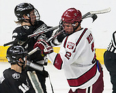 Kasper Björkqvist (PC - 20), Tyler Moy (Harvard - 2) - The Harvard University Crimson defeated the Providence College Friars 3-0 in their NCAA East regional semi-final on Friday, March 24, 2017, at Dunkin' Donuts Center in Providence, Rhode Island.