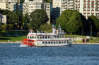 Old fashioned paddleboat or sternwheeler sightseeing boat, Vancouver, British Columbia, Canada                 .