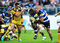 Semesa Rokoduguni of Bath Rugby takes on the Worcester Warriors defence with Tom Dunn in support. Aviva Premiership match, between Bath Rugby and Worcester Warriors on September 17, 2016 at the Recreation Ground in Bath, England. Photo by: Patrick Khachfe / Onside Images
