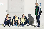 2 December 2006: Notre Dame head coach Randy Waldrum (r) with players (from left) Amanda Cinalli, Brittany Bock, and Jen Buczkowski. The University of Notre Dame Fighting Irish held a press conference at SAS Stadium in Cary, North Carolina one day before playing in the NCAA Division I Women's College Cup championship game.