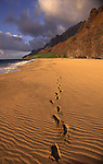 Foot Prints in Sand, Kalalau Beach, Napali Coast, Kauai, Hawaii<br />