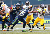 DeAngelo Williams #34 of the Pittsburgh Steelers in action against the Seattle Seahawks during the game at CenturyLink Field on November 29, 2015 in Seattle, Washington. (Photo by Jared Wickerham/DKPittsburghSports)