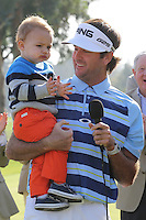 02/16/14 Pacific Palisades, CA: Bubba Watson and his son Caleb after winning the Northern Trust Open, held at Riviera Country Club