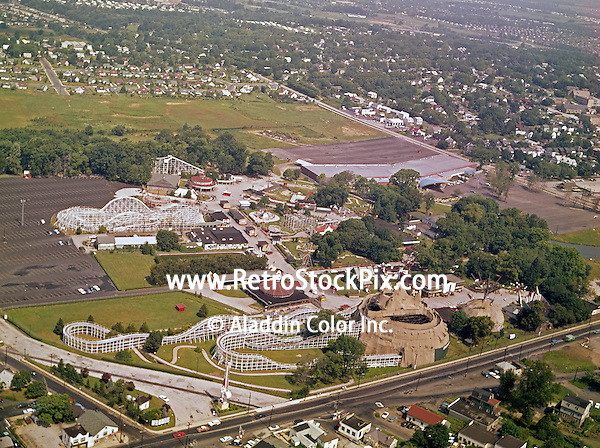 Willow Grove Amusement Park, Willow Grove, PA, Aerial view of the park and surrounding area. 1960's