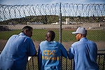 SAN QUENTIN, CA - APRIL 30, 2014: San Quentin News editors, from left, Arnulfo Garcia, Juan Haines, and Phoeun You take a break outside their newsroom. CREDIT: Max Whittaker for The New York Times