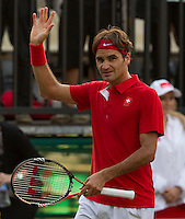 Royal Sydney Golf Club, Sydney, Australia v Switzerland Davis Cup 16/09/2011.Roger Federer (SUI) Second rubber.Photo:  Frey Fotosports International / AMN Images