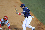 Ole Miss' Preston Overbey(1) tags out Western Kentucky's Casey Dykes (16) at Oxford-University Stadium in Oxford, Miss. on Wednesday, March 9, 2010.