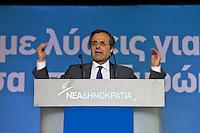 Elezioni in Grecia. Atene, manifestazione conclusiva di Nea Democratia in Piazza Sintagma 15 giugno 2012.  Antonis Samaras leader del partito parla dal palco.