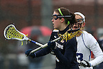 01 March 2015: Notre Dame's Caitlin Gargan and Duke's Maddie Crutchfield (behind). The Duke University Blue Devils hosted the University of Notre Dame Fighting Irish on the West Turf Field at the Duke Athletic Field Complex in Durham, North Carolina in a 2015 NCAA Division I Women's Lacrosse match. Duke won the game 17-3.