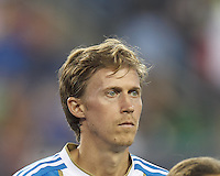 Philadelphia Union midfielder Brian Carroll (7). In a Major League Soccer (MLS) match, the New England Revolution (dark blue) defeated Philadelphia Union (light blue), 5-1, at Gillette Stadium on August 25, 2013.