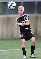 BOYDS, MARYLAND - July 21, 2012:  Joanna Lohman (17) of DC United Women sends off a pass against the Virginia Beach Piranhas during a W League Eastern Conference Championship semi final match at Maryland Soccerplex, in Boyds, Maryland on July 21. DC United Women won 3-0.