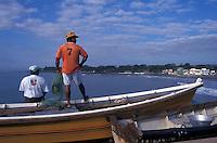 Fishermen on the town pier in La Libertad, El Salvador