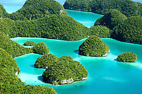 Aerials over the Rock islands in Palau Micronesia
