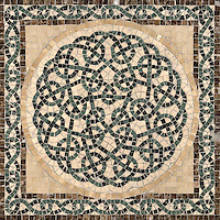 "22 1/8"" Thornes medallion shown in Emperador Dark, Verde Alpi, Spring Green, Saint Richard, Travertine Noce."