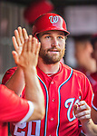 28 May 2016: Washington Nationals second baseman Daniel Murphy celebrates scoring during a game against the St. Louis Cardinals at Nationals Park in Washington, DC. The Cardinals defeated the Nationals 9-4 to take a 2-games to 1 lead in their 4-game series. Mandatory Credit: Ed Wolfstein Photo *** RAW (NEF) Image File Available ***
