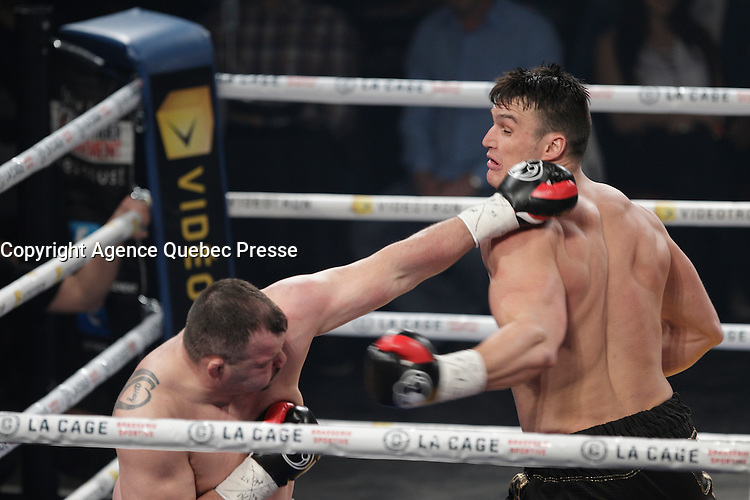 Simon Kean fight and defeat Travis Fulton, March 12,2016.<br /> <br /> Photo : Pierre Roussel  -  Agence Quebec Presse
