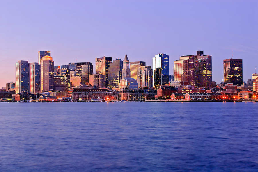 Massachusetts, Boston Skyline and Harbor at dawn