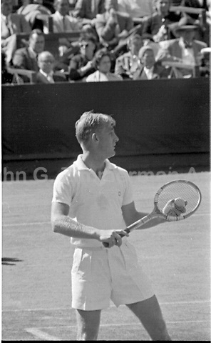 Australian tennis player Lew Hoad in final of the 1956 U.S. Men's National Championship against fellow Australian Ken Rosewall. West Side Tennis Club, Forest Hills, New York. Photograph by John G. Zimmerman.