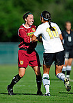 28 August 2009: University of Vermont Catamounts' goalkeeper Eliza Bradley, a Senior from Charlotte, VT, celebrates a win against the University of Montreal Carabins at Centennial Field in Burlington, Vermont. The Catamounts defeated the Carabins 3-2 in sudden death overtime. Mandatory Photo Credit: Ed Wolfstein Photo