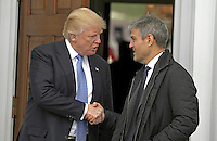 United States President-elect Donald Trump (L) shakes hands with Ari Emanuel at the clubhouse of Trump International Golf Club, in Bedminster Township, New Jersey, USA, 20 November 2016.<br /> Credit: Peter Foley / Pool via CNP /MediaPunch