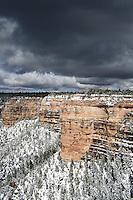 Stormy sky and snow, Grand Canyon national park, Arizona, USA