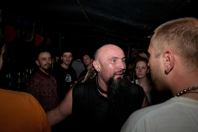 "Srdjan ""Gino"" Jevdjevic greets fans after Kultur Shock's performance at Gun Club in Belgrade, Serbia..."
