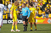 27 MARCH 2010:  Referee Mark Geiger talks to Steven Lenhart of the Columbus Crew (32) during the Toronto FC at Columbus Crew MLS game in Columbus, Ohio on March 27, 2010.