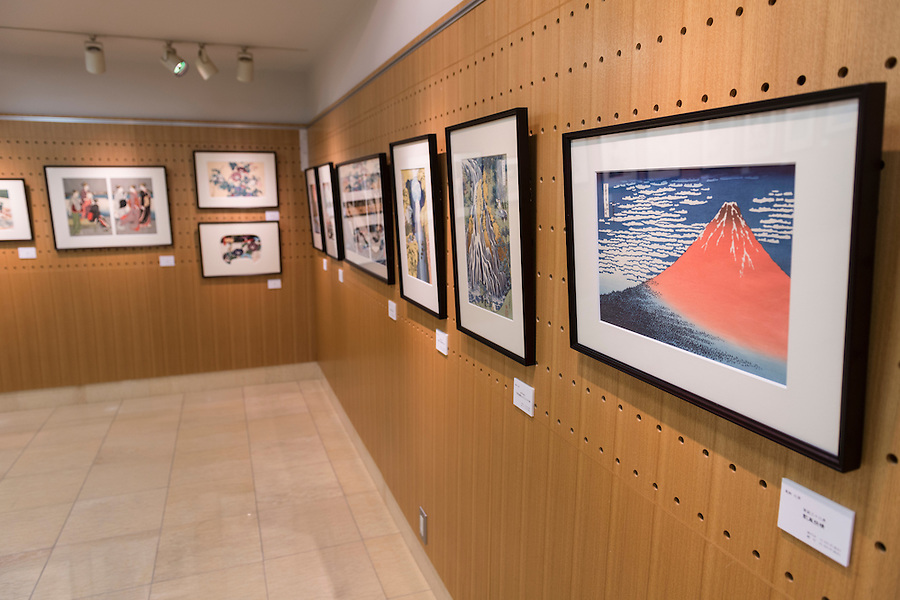 Gallery of the Adachi Foundation for the Preservation of Woodcut Printing, Tokyo, Japan, July 15, 2014. The Foundation works to preserve the original techniques of Japanese woodblock printing. As well as recreating classic ukiyo-e from the Edo period, they train and employ young artisans, and also educate about the art form.