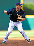 4 September 2009: Cleveland Indians' first baseman Chris Gimenez takes infield drills prior to a game against the Minnesota Twins at Progressive Field in Cleveland, Ohio. The Indians defeated the Twins 5-2 to take the first game of their three-game weekend series. Mandatory Credit: Ed Wolfstein Photo