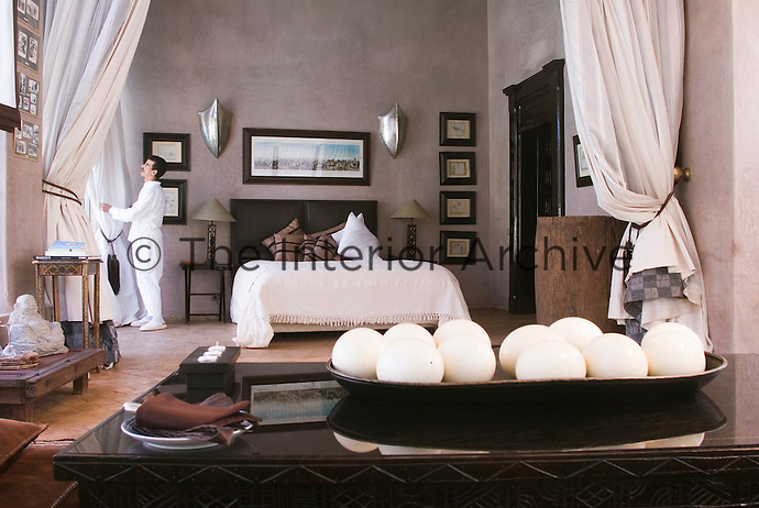 One of the four suites at Le Palais Rhoul in Marrakech, all uniquely furnished with rare and anique pieces
