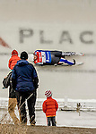 5 December 2015: Gry Martine Mostue, competing for Norway, slides through Curve 10 on her second run of the Viessmann World Cup Women's Luge, with a combined 2-run time of 1:29.402 and a 17th place result at the Olympic Sports Track in Lake Placid, New York, USA. Mandatory Credit: Ed Wolfstein Photo *** RAW (NEF) Image File Available ***