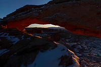 Winter sunrise at Mesa Arch in Canyonlands National Park.